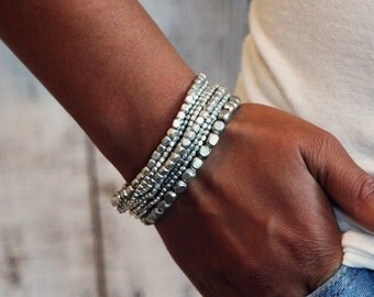 Silver Bead Bracelet, Silver Bracelet, Bead Bracelet, Stretch Bracelet, Stacking Bracelet, Yoga Jewelry, Beaded Bracelet, Yoga Bracelet