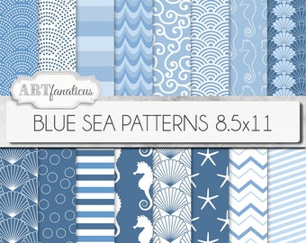 "8.5x11 beach digital papers ""BLUE SEA PATTERNS"" shells, seahorse, waves, seashell, ocean, starfish, chevron, sea, beach, nautical, seashore"