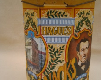 Vintage Hagues Souvenir Tin ~ Advertising Tin ~ 1970's ~ Snack Tin ~ Container ~ Made in England ~ Case Manufacturing Co.