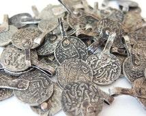 Set Of 12 Moroccan Vintage Handmade Coins Tribal Beads Pendants African DIY
