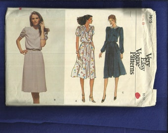 Vintage 1970's Vogue 7615 Sweet Puff Sleeve Dress with Flared Skirt Size 8