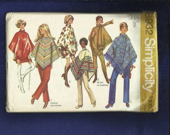1970's Simplicity 8932 British Invasion or Western Ponchos  Size 12