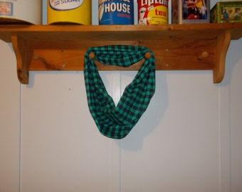"Infinity Scarf. Flannel teal and black plaid.  Approx 5"" x 72"".  Great light weight scarf to add color  to your outfit."