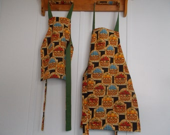 Apron sets, Mommy and me aprons reversible Green with blueberries, strawberries, and oranges green reversible
