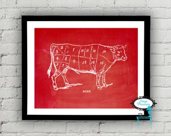 Vintage Beef Butcher Diagram - 8X10 - Meat Chart - DIY - Wall Art - Restaurant Art - Meat Cut - Kitchen Art - Beef Meat Cut - Cow Diagram