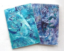 """TWO 4"""" x 6"""" Encaustic Art Abstract Greeting Cards 003."""