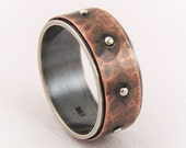 Mens rustic wedding ring - copper and silver ring,mens engagement ring,wide wedding band,man ring
