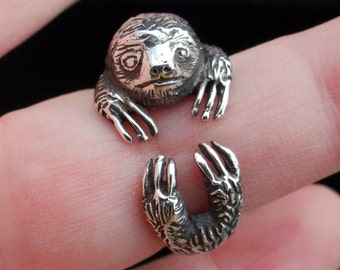 Silver Sloth Ring, Sterling Silver Ring, Silver Sloth Jewelry, Animal Ring, Solid Silver Sloth Ring