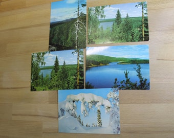 Set of 5  vintage postcards  with landscapes of Finland