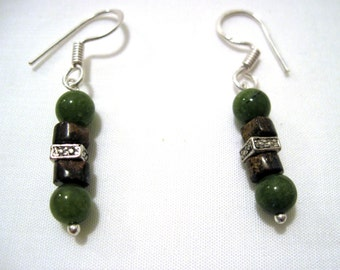 Green and Brown Beaded Earrings