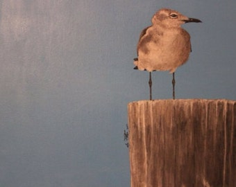 """Painted Piling - Seagull - Acrylic on Canvas - Ooak 18""""x24"""""""