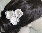Chamagne hair flower Cream hair flower Champagne cream hair flower Champagne wedding flower Cream hair accessory Set of 3 cream hair flowers