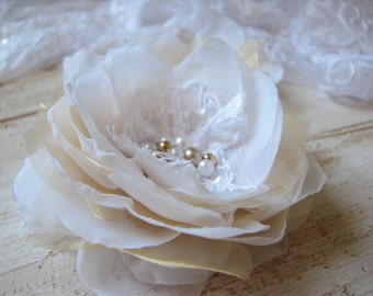 Ivory gold hair flower Ivory gold hair pin Ivory gold wedding Gold hair flower Ivory organza hair flower 3 inch hair flower Ivory wedding
