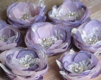 Set of 3 hair flowers Purple hair flower Lilac pink hair flower Lavender hair flower Pink lavender hair flower Pink lavender lilac flower