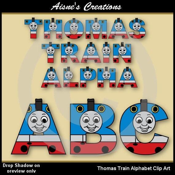 thomas train alphabet  letters clip art graphics by aisnescreations