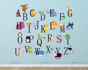 Alphabet Nursery Wall Decal - Playroom Wall Decal - Educational Wall Decal - Play Room Wall Decal - Animal Wall Decal