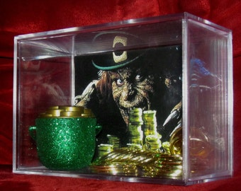 "Leprechaun Got Paid!!! ""Inspired Large Gold Display""...Ready for the Taking!...Gold can come out...(Case is a Large Case)"