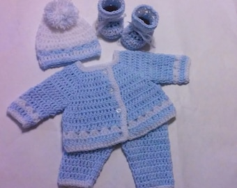 Crochet Newborn Sweater Set  Baby Blue and White, Preemie Baby Boy, Crochet Sweater, Pants, Hat and Booties Preemie Take Baby Home Layette