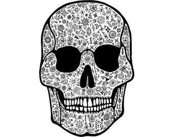 Patterned Skull // A4 Archival Giclee Print // by Amy Rose