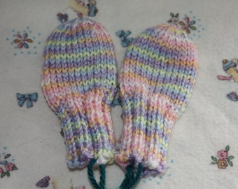 Pastel Stripe Baby Mittens - Mittens for 6-12 Months - Pink 6-12 Month Baby Accessories - Blue Hand Knit Thumbless No-Scratch Mini Mittens