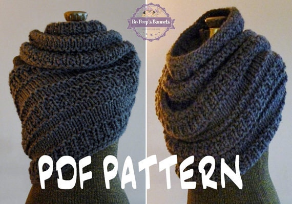 Knitting Pattern Cable Knit Cowl Vest : INSTANT DOWNLOAD Knitting PATTERN Huntress Cowl Cowl Wrap