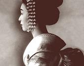 Japanese geisha profile portrait, Japanese vintage geisha photographs, Japanese art prints, posters, women portraits face art photography