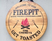 Rustic wood firepit sign handmade and customized