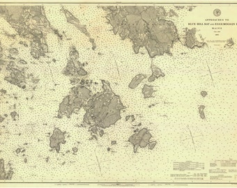 Approaches to Blue Hill Bay and Eggemoggin Reach Burnt Oat Island Isle au Haut  Maine 1885 Nautical Map  Harbors 4 308 Reprint