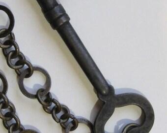 Tarnished Brass Skeleton Key Necklace