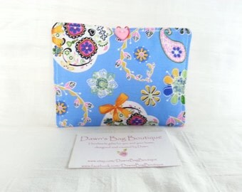 Sanitary Pad holder, Sanitary pad pouch, Sanitary towel case, Sanitary pouch, Blue Day of the dead sugar skull, dias de los muertos fabric