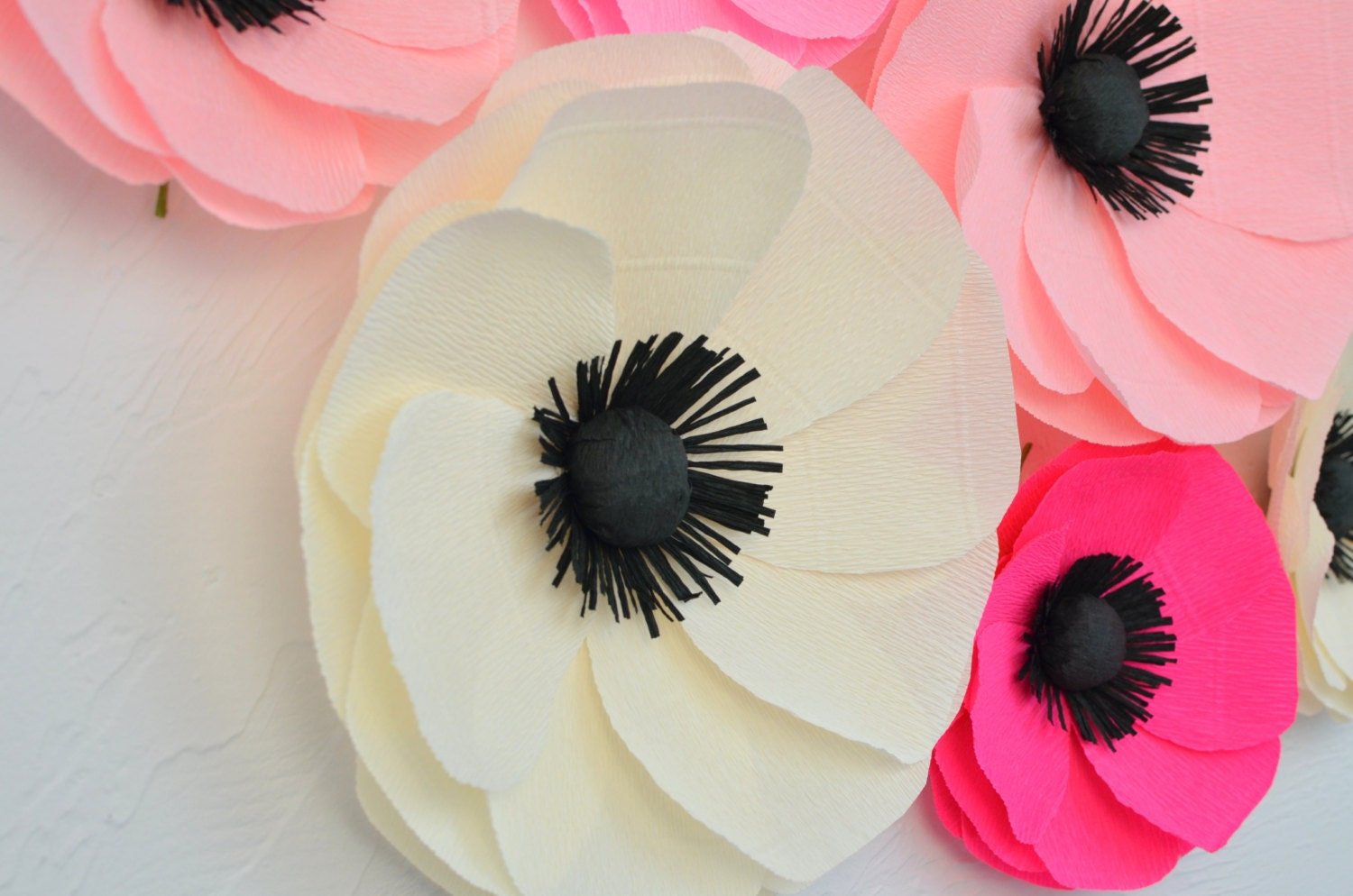 6 giant paper flowers  large paper poppies  wedding