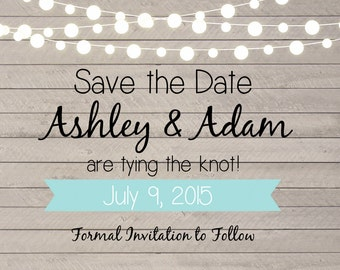 Rustic Wedding Save the Date printable postcard.  Barnwood save the date card. Save the date with lights and banner. JPG or PDF available.