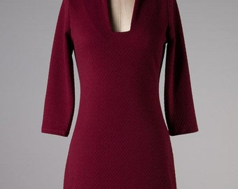 Burgandy Flutter Fit & Flare Dress