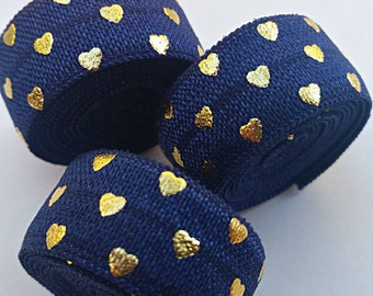 5/8 NAVY BLUE with Gold Polka Hearts Fold Over Elastic