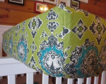 Paisley Fitted Crib Sheet - Olive and Sea Blue
