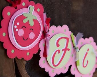 Strawberry Banner, Strawberry Shortcake theme, Birthday Banner, Name Banner