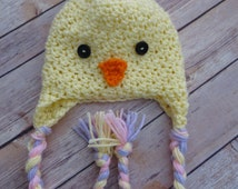 Girls EASTER BABY CHICK PomPom Hat with Braids * Crochet Photo Props  * baby shower gift * Easter Props