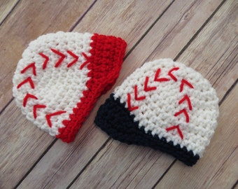 For the TWINS * Set of 2 Crochet BASEBALL Caps * Boys * Red / Blue * Photo Props * Baby Shower Gift