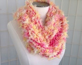 Cotton candy pastel hand knit multi yarn scarf, knitted pink, yellow, white fuzzy long fashion scarf, cowl soft knit infinity scarf handmade