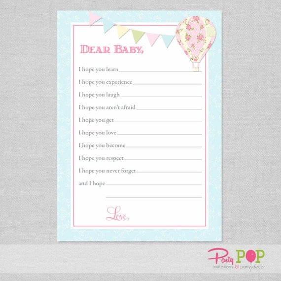 Hot Air Balloon Dear Baby Card - Baby Shower Game - Wishes for Baby - Advice for Baby - Printable