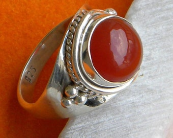 Carnelian Nepali Ring Solid 925 Sterling Silver Pure Handmade Size: Variable Exclusive Fresh Arrival High Class Gift