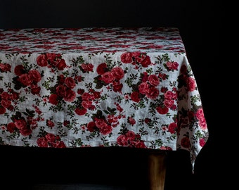 SALE! Small Roses Stone Washed Linen Tablecloth