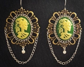 Green and White Lady Skull Cameo Earrings