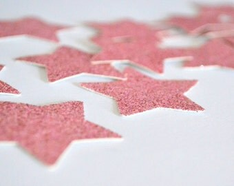 SALE - Stars, large, pink sparkle, 25ct