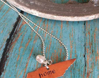 Copper Home Metal Stamped Tennessee State Blank Necklace