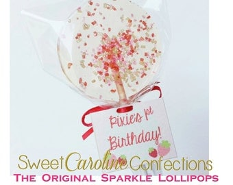 Strawberry Lollipops with Personalized Tags,  Strawberry Shortcake, Pretty Lollipops, Little Girl Party, Party Favors -Set of Six