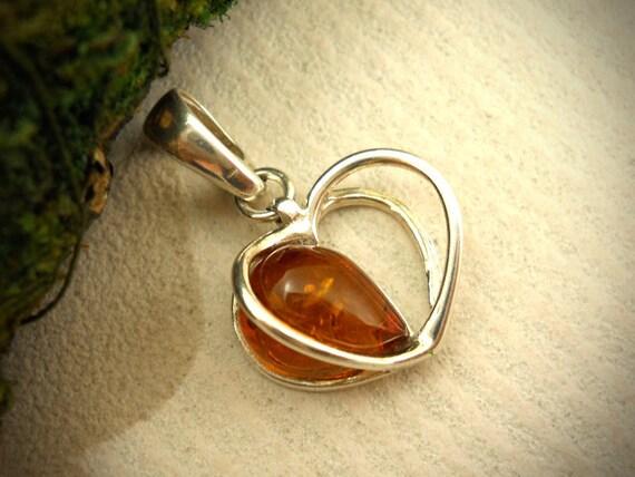 Vintage style Heart baltic amber pendant, art nouveau,