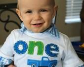 boy's truck shirt, ONE birthday, Little Blue Truck, First birthday shirt. White TWO T-shirt. Blue retro truck tee. Boys' 2nd birthday shirt.