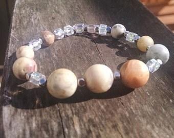 Beaded Agate Stone Stretch Bracelet Beaded Bracelet Stretchy Bracelet