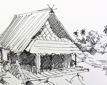 "River Hut in Thailand - Original Sketch - 5""x8.5"" Pen and Pencil on paper"